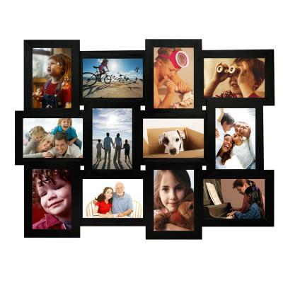 Деревянная мультирамка Руноко Чёрная на 12 фото