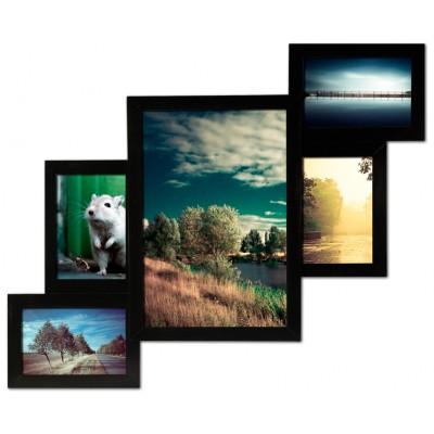 Фоторамка Мультирамка Черная на 5 фотографий