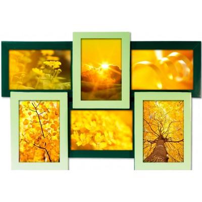 Деревянная мультирамка Руноко Зеленая на 6 фото
