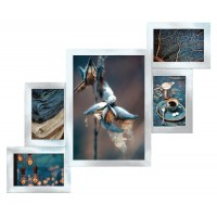 Фоторамка Мультирамка Серебро на 5 фотографий