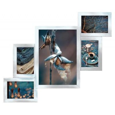Деревянная мультирамка Руноко Серебро на 5 фотографий
