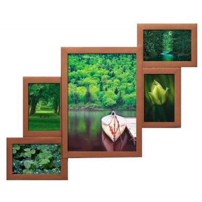 Деревянная мультирамка Руноко Бронзовая на 5 фотографий