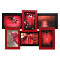 Фоторамка Мультирамка Красное и Черное на 6 фото