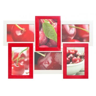 Фоторамка Мультирамка Красное и Белое на 6 фото