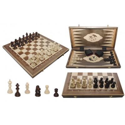 Шахматы Madon Турнирные №5 Intarsia с шашками и нардами