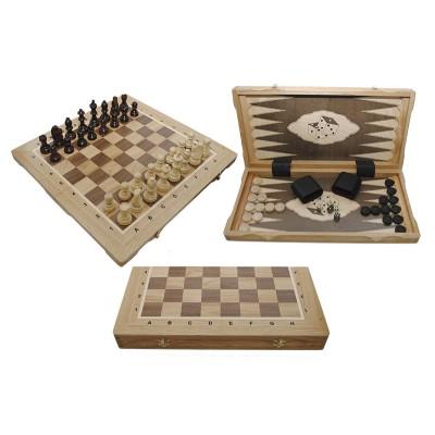 Шахматы Madon Турнирные №5 Intarsia с шашками и нардами дуб