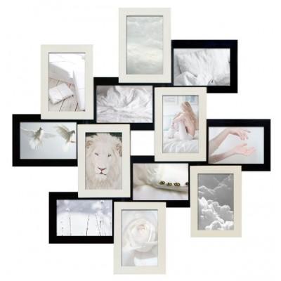 Фоторамка Мультирамка Руноко Зигзаг Белое и Черное на 12 фото