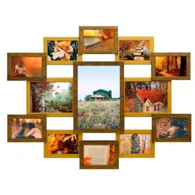 Фоторамка Мультирамка Руноко Симметрия Двойное Золото на 13 фото