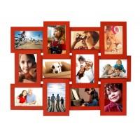 Деревянная мультирамка Руноко Красная на 12 фото