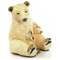 Керамическая фигурка De Rosa Rinconada Emerald Медведь Белый с рыбой
