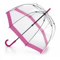 Женский зонт-трость прозрачный Fulton Birdcage-1 L041 - Pink