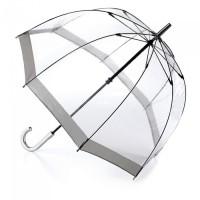 Женский зонт-трость прозрачный Fulton Birdcage-1 L041 - Silver