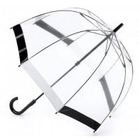 Женский зонт-трость прозрачный Fulton Birdcage-1 L041 -  Black White