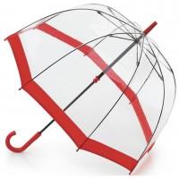 Женский зонт-трость прозрачный Fulton Birdcage-1 L041 -  Red