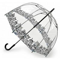 Женский зонт-трость прозрачный Fulton Birdcage-2 L042 - Bibis Cat