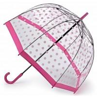 Женский зонт-трость прозрачный Fulton Birdcage-2 L042 - Pink Polka