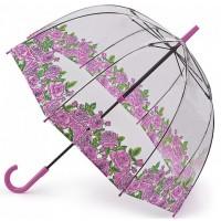 Женский зонт-трость прозрачный Fulton Birdcage-2 L042 - Coming Up Roses