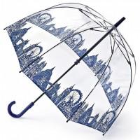 Женский зонт-трость прозрачный Fulton Birdcage-2 L042 - London Icons