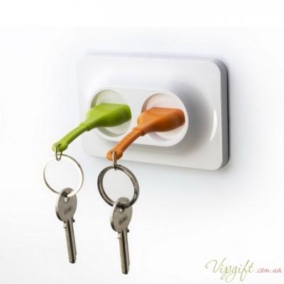 Ключница настенная и брелки для ключей Double Unplug Qualy Зеленый и Оранжевый
