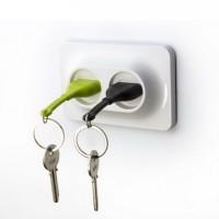 Ключница настенная и брелки для ключей Double Unplug Qualy Зеленый и Черный