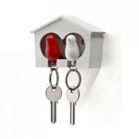 Ключница настенная и брелки для ключей Duo Sparrow Qualy Белый и Красный