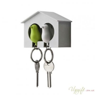 Ключница настенная и брелки для ключей Duo Sparrow Qualy Белый и Зеленый