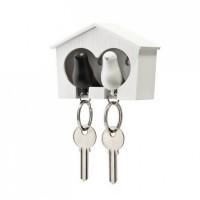 Ключница настенная и брелки для ключей Duo Sparrow Qualy Белый и Черный