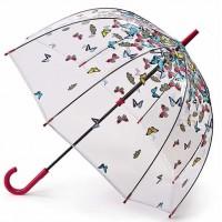Женский зонт-трость прозрачный Fulton Birdcage-2 L042 - Raining Butterflies
