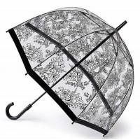 Женский зонт-трость прозрачный Fulton Birdcage-2 L042 - Stencil Floral