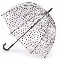 Женский зонт-трость прозрачный Fulton Birdcage-2 L042 - Candy Leopard