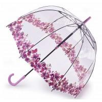 Женский зонт-трость прозрачный Fulton Birdcage-2 L042 - Crimson Floret