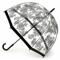 Женский зонт-трость прозрачный Fulton Birdcage-2 L042 - Black Rose