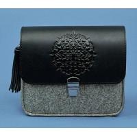 Бохо-сумка BlankNote Лилу фетр+кожа графит