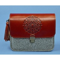 Бохо-сумка BlankNote Лилу фетр+кожа коньяк