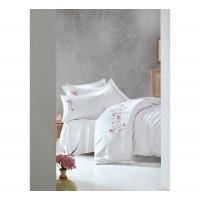 Комплект постельного белья с вышивкой 3D Cotton box PERLA BEYAZ