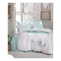 Комплект постельного белья с вышивкой 3D Cotton box LENA MINT