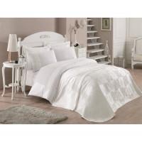 Жаккардовое покрывало и набор постельного белья с вышивкой Cotton box VERONICA EKRU