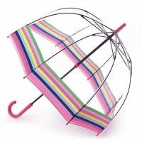 Женский зонт-трость прозрачный Fulton Birdcage-2 L042 - Colour Burst Stripe