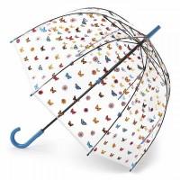 Женский зонт-трость прозрачный Fulton Birdcage-2 L042 - English Garden