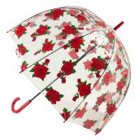 Женский зонт-трость прозрачный Fulton Birdcage-2 L042 - Tattoo Rose