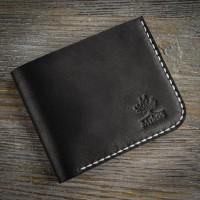 Черный маленький кожаный мужской кошелек MiroS