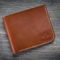Маленький кожаный мужской кошелек MiroS коньячного цвета