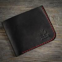 Черный маленький кожаный мужской кошелек MiroS с красной нитью