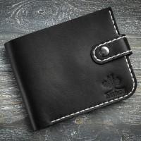 Черный кожаный мужской кошелек MiroS на кнопке