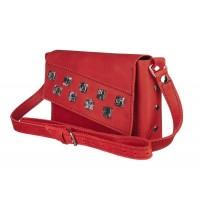 Маленькая кожаная женская сумка-клатч MiroS красная