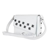 Маленькая кожаная женская сумка-клатч MiroS белая