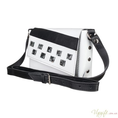 Маленькая кожаная женская сумка-клатч MiroS бело-черная