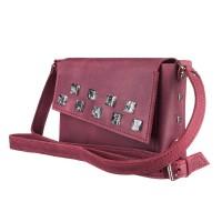 Маленькая кожаная женская сумка-клатч MiroS марсал