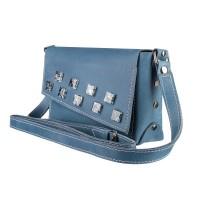 Маленькая кожаная женская сумка-клатч MiroS голубая