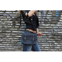 Синяя кожаная сумка MiroS